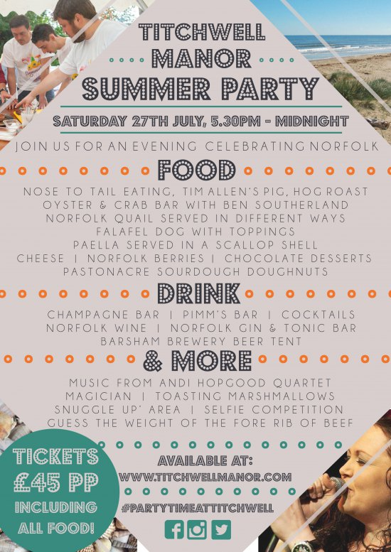 ADULT'S TICKET- Titchwell Manor Summer Party- Saturday 27th July, 5.30pm- Midnight